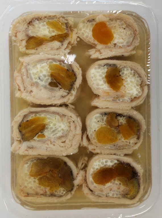 .Boiled, filled trout with dried apricots